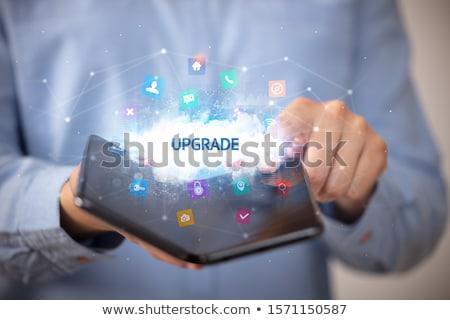 üzletember tart okostelefon technológia biotech felirat Stock fotó © ra2studio