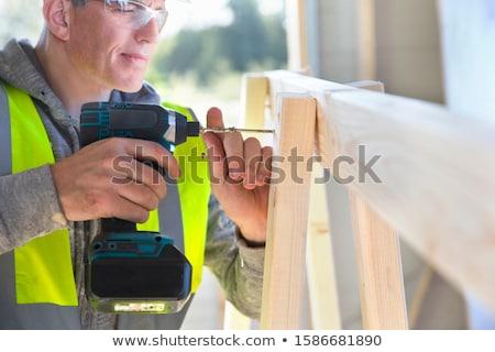 Foto stock: Carpinteiro · quadro · juntos · madeira · casa · homens