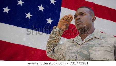 amerikai · katona · áll · amerikai · zászló · illusztráció · férfi - stock fotó © vectomart