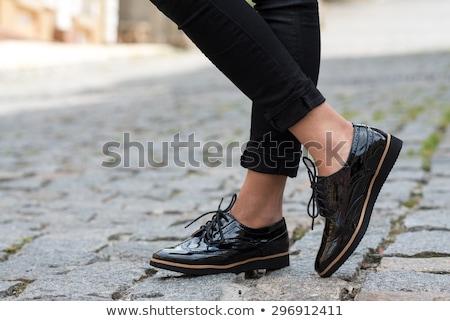 Stok fotoğraf: Siyah · kadın · ayakkabı · yalıtılmış · beyaz · kadın