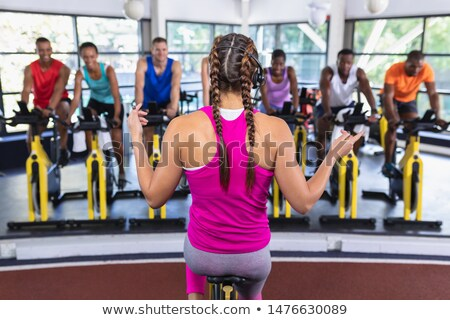 Man instructs spinning class  Stock photo © wavebreak_media