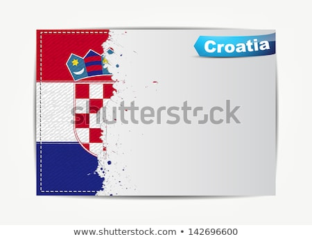 Stitched Croatia flag with grunge paper frame for your text.  Stock photo © maxmitzu