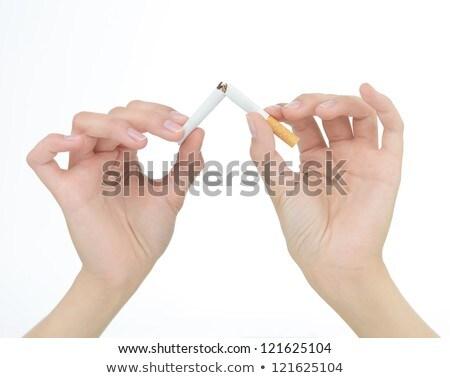 Mãos cigarro dois feminino isolado branco Foto stock © Grazvydas