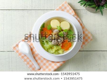 Homemade soup with egg tofu, minced pork and vegetable Stock photo © punsayaporn