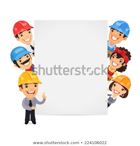 builders presenting empty vertical banner stock photo © voysla