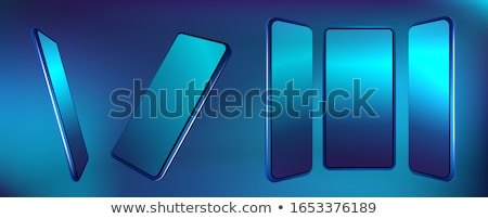 White Smart Phone With Blue Screen on the Black Table Stock photo © maxpro
