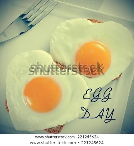 Sült tojások szűrő hatás közelkép felszolgált Stock fotó © nito