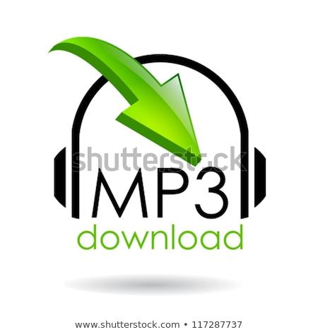Mp3 downloaden groene vector icon ontwerp Stockfoto © rizwanali3d