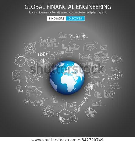 Stockfoto: Globale · financiële · engineering · doodle · ontwerp · stijl