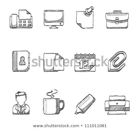 Monitor with business graphs sketch icon. Stock photo © RAStudio