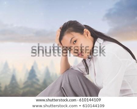 Foto stock: Cansado · desapontado · mulher · jovem · céu · composição · digital