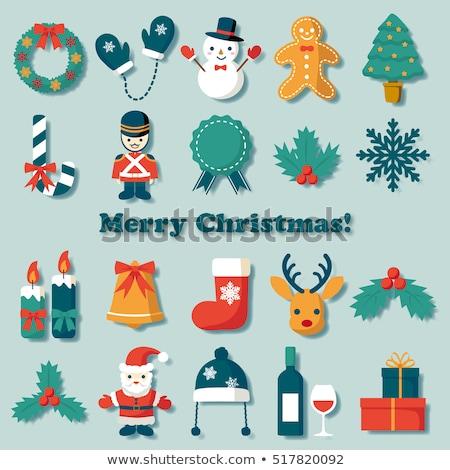 Christmas icon Santa boot with holly Stock photo © fresh_5265954