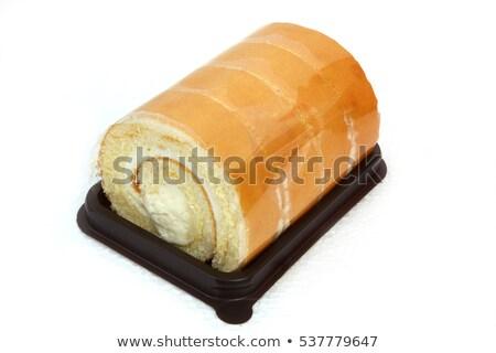 Plakje vanille cake oranje jam eigengemaakt Stockfoto © mpessaris