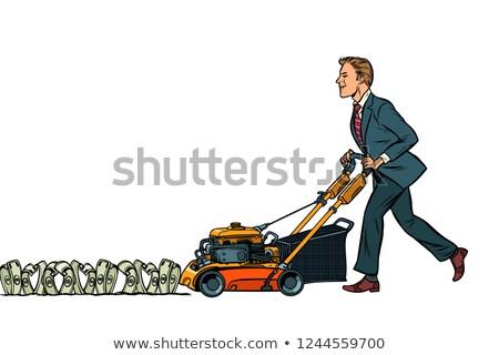 Businessman cuts money like a lawnmower man. Isolate on white ba Stock photo © studiostoks