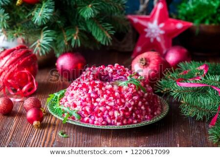 Salad Garnet bracelet. Traditional Russian Festive Salad Stock photo © zoryanchik
