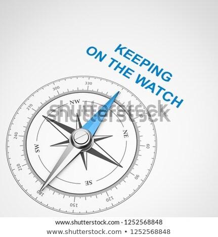 Brújula blanco ver magnético aguja senalando Foto stock © make