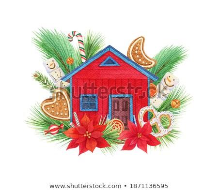 Bois chalet bonhomme de neige Noël illustration maison Photo stock © colematt