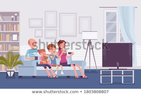 Család ül kanapé néz rajz hátsó nézet Stock fotó © AndreyPopov