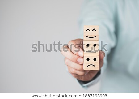 Person Stacking Smiling Cube Stock photo © AndreyPopov