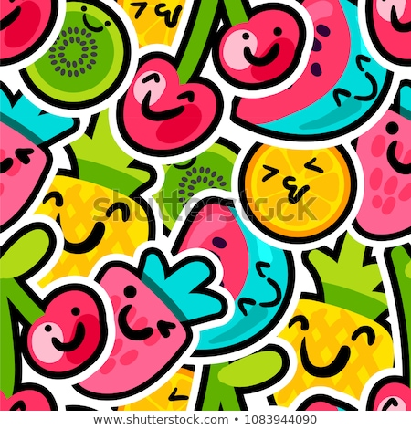 Cartoon vruchten stickers naadloos vector patroon Stockfoto © barsrsind
