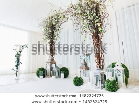 Fehér esküvő ív díszített virág bent Stock fotó © ruslanshramko