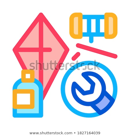 homemade hand kite icon vector outline illustration Stock photo © pikepicture