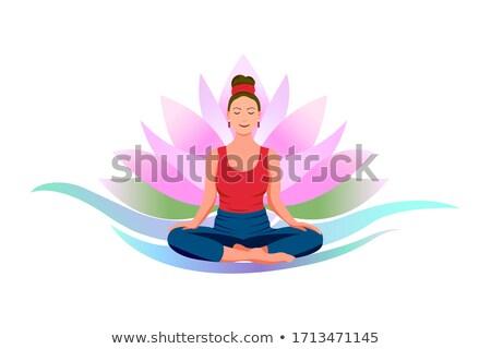 女性 座って 水 ユリ デザイン ベッド ストックフォト © photography33