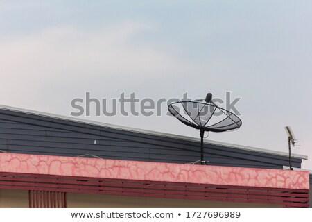 Czarny antena satelitarna czerwony dachu jasne niebo Zdjęcia stock © nuttakit