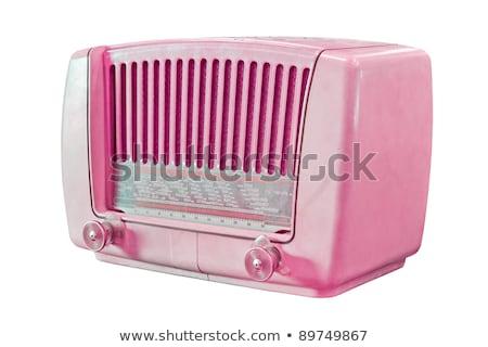Pink Old fashioned radio isolated on white background Stock photo © ozaiachin