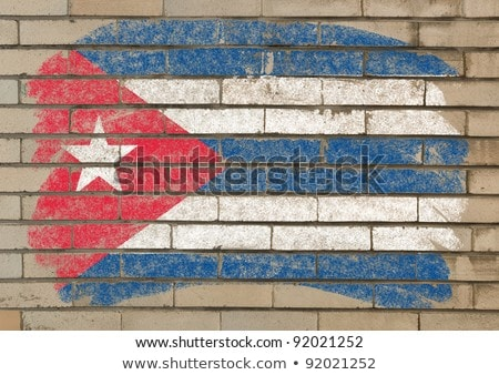 Flag Of Cuba On Grunge Brick Wall Painted With Chalk Foto stock © vepar5