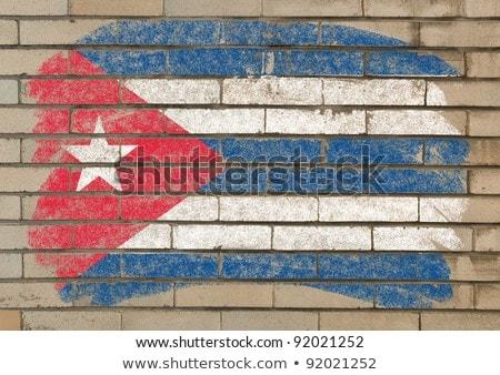 Vlag Cuba grunge muur geschilderd krijt Stockfoto © vepar5