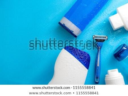 kék · borotva · közelkép · kilátás · izolált · fehér - stock fotó © winterling
