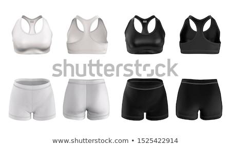 черный бюстгальтер шорты красивой волнистый женщину Сток-фото © disorderly