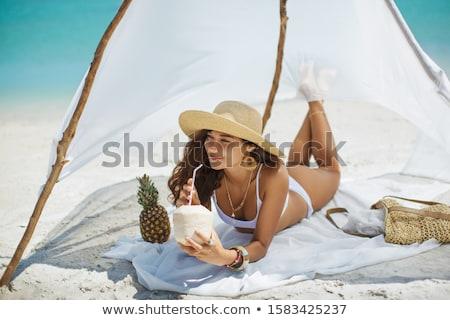 fiatal · nő · iszik · forró · nyár · nap · úszómedence - stock fotó © nejron