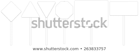 set of wire frame road signs front view vector illustration stock photo © cherezoff