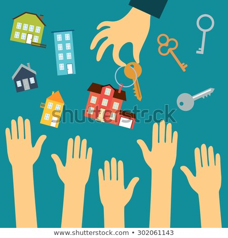 Drawn hands holding house with key Stock photo © cherezoff