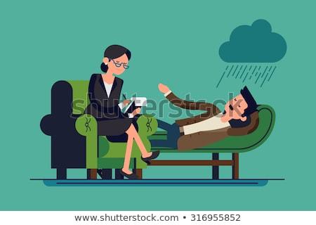 donna · parlando · terapeuta · divano · home · help - foto d'archivio © wavebreak_media