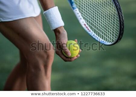 Vrouwelijke benen racket portret steeg tennis Stockfoto © deandrobot