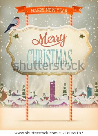 Noel kaligrafi bağbozumu eps 10 tebrik Stok fotoğraf © beholdereye
