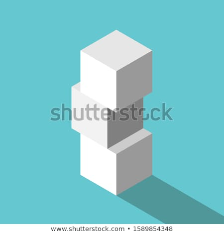 único · cubo · azul · tridimensional · vermelho · um - foto stock © beholdereye