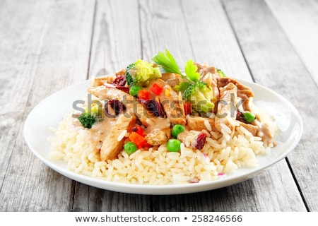 stir fried vegetables and chicken with rice stock photo © stephaniefrey