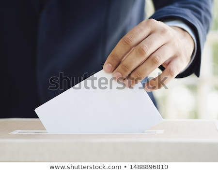 Homem eleição cédula ilustração sorrir lápis Foto stock © adrenalina