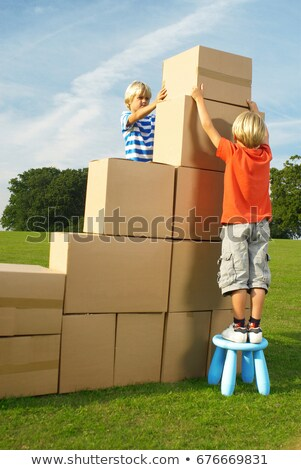boys putting box on top of steps Stock photo © IS2