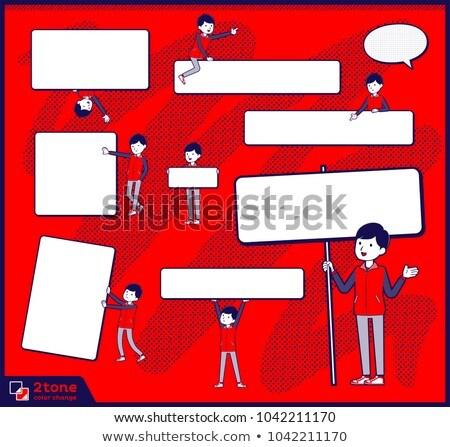 Store staff red uniform men_text box Stock photo © toyotoyo