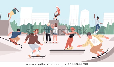 Active Teenager and Park, Vector Illustration Stock photo © robuart