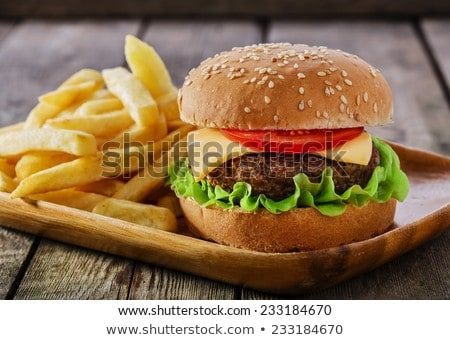 Hamburger sültkrumpli sajt paradicsom Franciaország űr Stock fotó © FreeProd