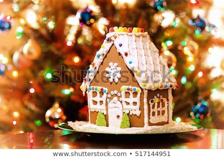 Natale decorato pan di zenzero casa alimentare neve Foto d'archivio © AGfoto