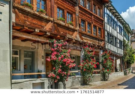 Straat Zwitserland oude binnenstad gebouw stad muur Stockfoto © borisb17