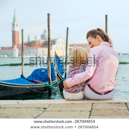 Anne kız tatil Venedik gülen Stok fotoğraf © AndreyPopov