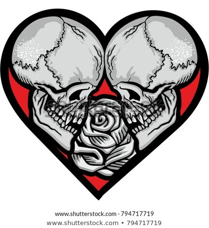Skull with Hearts Pattern Stock photo © sifis